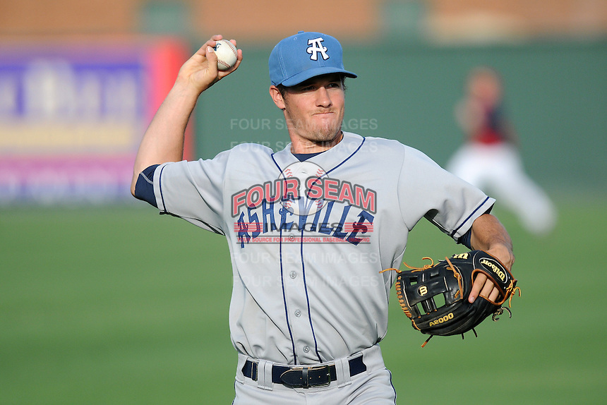 Infielder Jason Stolz (11) of the Asheville Tourists in a game against the Greenville Drive on Thursday, May 30, 2013, at Fluor Field at the West End in Greenville, South Carolina. Asheville won, 9-8. (Tom Priddy/Four Seam Images)