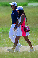 Sergio Garcia (ESP) and his fiancee, Angela Akins walk to the scorers tent following Friday's round 2 of the 117th U.S. Open, at Erin Hills, Erin, Wisconsin. 6/16/2017.<br /> Picture: Golffile | Ken Murray<br /> <br /> <br /> All photo usage must carry mandatory copyright credit (&copy; Golffile | Ken Murray)