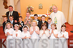 Children from Blennerville National School who received their First Communion at St. Brendans Church, Curraheen on Saturday pictured with Principal Michael OConnor and Fr. Michael Moynihan. Front Row: Catriona Horgan, Maeve Ella Bradley, Kaythlan Griffin, Shelley Howarth, Ciara Corridan, Aoife Wallace and Bronwyn Hanafin. Back Row: Dylan Foran, Michael Moran, Eoin Greaney, Darragh Sheehan, Kieran Dwyer, Darren Carolan and Ivan Daly. .