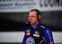 Feb. 24, 2011; Pomona, CA, USA;  NHRA funny car crew chief Jimmy Prock during qualifying for the Winternationals at Auto Club Raceway at Pomona. Mandatory Credit: Mark J. Rebilas-