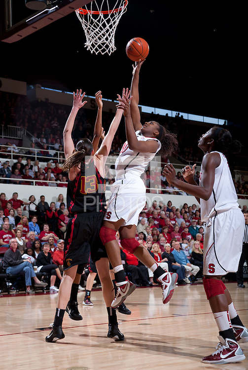 STANFORD, CA - January 22, 2011: Nnemkadi Ogwumike of the Stanford women's basketball team during their game against USC at Maples Pavilion. Stanford beat USC 95-51.