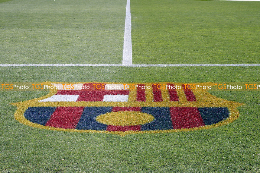 FC Barcelona Club Crest drawn on the pitch -  Barcelona vs Chelsea at the Nou Camp Stadium - 24/04/12 - MANDATORY CREDIT: Dave Simpson/TGSPHOTO - Self billing applies where appropriate - 0845 094 6026 - contact@tgsphoto.co.uk - NO UNPAID USE.