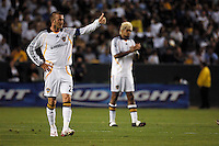 Los Angeles Galaxy's David Beckham gives a thumbs up to teammates during the first half against D.C. United at the Home Depot Center in Carson, CA on Wednesday, August 15, 2007. The Los Angeles Galaxy defeated D. C. United 2-0 in a SuperLiga semifinal match.