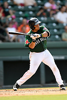 Catcher Isaias Lucena (19) of the Greenville Drive bats in a game against the Asheville Tourists on Sunday, June 3, 2018, at Fluor Field at the West End in Greenville, South Carolina. Greenville won, 7-6. (Tom Priddy/Four Seam Images)