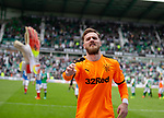 13.05.2018 Hibs v Rangers: Jak Alnwick throws his gloves into the crowd at full time
