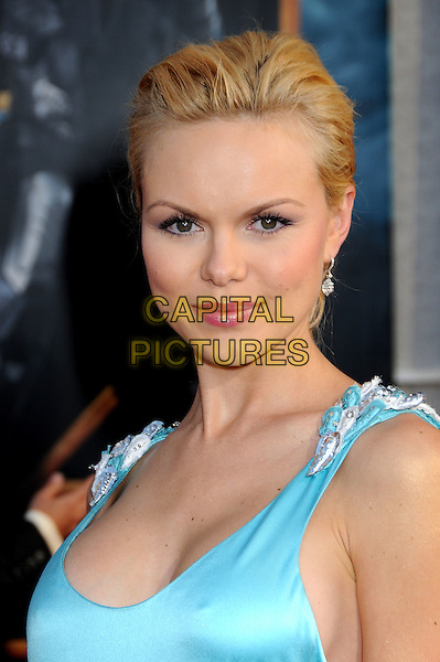 "ANYA MONZIKOVA .""Iron Man 2"" World Premiere held at the El Capitan Theatre, Hollywood, California, USA, 26th April 2010..arrivals portrait headshot hair up make-up blue turquoise silk satin sleeveless .CAP/ADM/BP.©Byron Purvis/AdMedia/Capital Pictures."