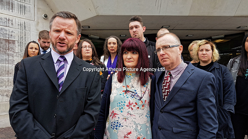 """Pictured: L-R the investigative officer with South Wales Police, Tracy Kennedy, and Paul Kennedy, the parents of Kelly Kennedy read a statement outside Swansea Crown Court after the sentencing. Monday 16 April 2018<br /> Re: Two young drivers who were racing each other along a main road when they killed a woman in an horrific head-on smash, have been jailed by SWansea Crown Court.<br /> Kelly Kennedy, 25, died at the scene of the crash on the main Swansea Valley road as she drove home from work.<br /> 23 year old Liam Price, had previously pleaded guilty to causing death by dangerous driving but co-defendant, Cory Kedward, also 23, denied the charge - he claimed he had not been involved in racing or any kind of """"competitive driving"""".<br /> A jury found him guilty by a majority verdict following a six-day trial at Swansea Crown Court.<br /> Miss Kennedy was killed on the evening of July 4, 2016, on the A4067 between Pontardawe and Glais in south Wales. She was travelling to her home in Clydach, and travelling in the opposite direction to Price and Kedward.<br /> After driving past the Glais roundabout, Price in his turquoise Honda Civic Sport, and Kedward in his black Vauxhall Astra SRi, began racing each other."""