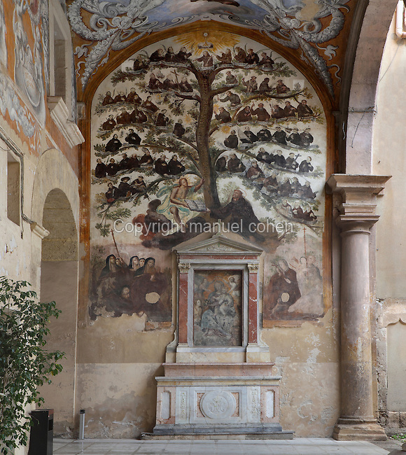 Franciscan Family Tree, mural painting in the portico of the Franciscan monastery La Gancia, 15th century, Palermo, Sicily, Italy. Part of the monastery is now the provincial Archive of State. Picture by Manuel Cohen