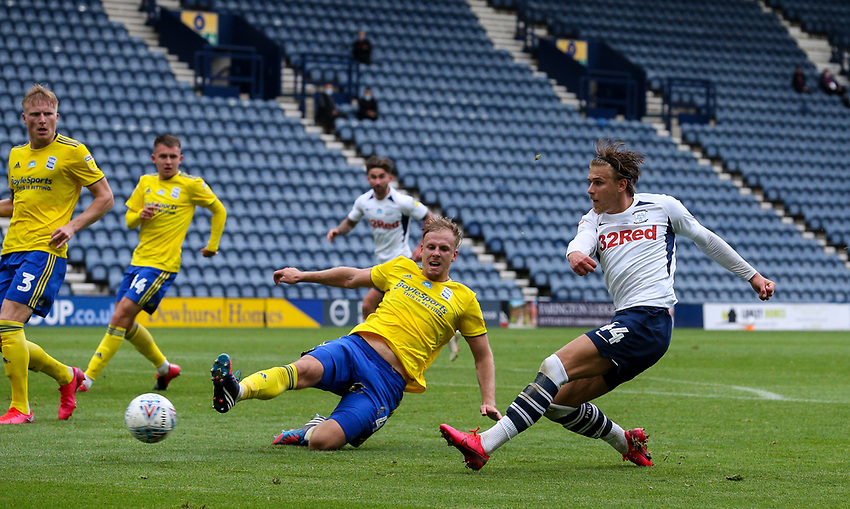 Preston North End's Brad Potts scores his side's second goal<br /> <br /> Photographer Alex Dodd/CameraSport<br /> <br /> The EFL Sky Bet Championship - Leeds United v Barnsley - Thursday 16th July 2020 - Elland Road - Leeds<br /> <br /> World Copyright © 2020 CameraSport. All rights reserved. 43 Linden Ave. Countesthorpe. Leicester. England. LE8 5PG - Tel: +44 (0) 116 277 4147 - admin@camerasport.com - www.camerasport.com<br /> <br /> Photographer Alex Dodd/CameraSport<br /> <br /> The EFL Sky Bet Championship - Preston North End v Birmingham City - Saturday 18th July 2020 - Deepdale Stadium - Preston<br /> <br /> World Copyright © 2020 CameraSport. All rights reserved. 43 Linden Ave. Countesthorpe. Leicester. England. LE8 5PG - Tel: +44 (0) 116 277 4147 - admin@camerasport.com - www.camerasport.com