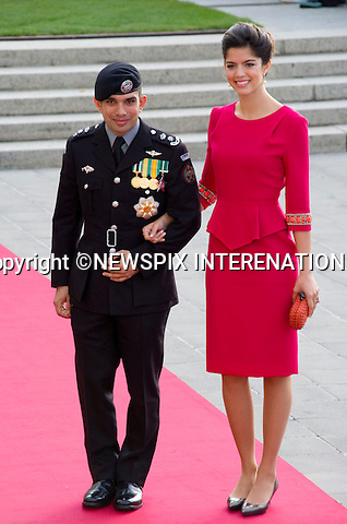 """PRINCE RASHID AND PRINCESS ZEINA OF JORDAN.Wedding of HRH the Hereditary Grand Duke and Countess Stéphanie de Lannoy.Religious Ceremony at Cathedral of Our lady of Luxembourg, Luxembourg_20-10-2012.Mandatory credit photo: ©Dias/NEWSPIX INTERNATIONAL..(Failure to credit will incur a surcharge of 100% of reproduction fees)..                **ALL FEES PAYABLE TO: """"NEWSPIX INTERNATIONAL""""**..IMMEDIATE CONFIRMATION OF USAGE REQUIRED:.Newspix International, 31 Chinnery Hill, Bishop's Stortford, ENGLAND CM23 3PS.Tel:+441279 324672  ; Fax: +441279656877.Mobile:  07775681153.e-mail: info@newspixinternational.co.uk"""