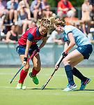 NIJMEGEN -   Amber Folmer (Huizen)  tijdens  de tweede play-off wedstrijd dames, Nijmegen-Huizen (1-4), voor promotie naar de hoofdklasse.. Huizen promoveert naar de hoofdklasse.  COPYRIGHT KOEN SUYK