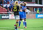 Solna 2015-08-31 Fotboll Damallsvenskan AIK - Eskilstuna United :  <br /> Eskilstunas Gaelle Enganamouit firar sitt 0-1 m&aring;l med Olivia Schough under matchen mellan AIK och Eskilstuna United <br /> (Foto: Kenta J&ouml;nsson) Nyckelord:  Damallsvenskan Allsvenskan Dam Damer Damfotboll Skytteholm Skytteholms IP AIK Gnaget Eskilstuna United jubel gl&auml;dje lycka glad happy