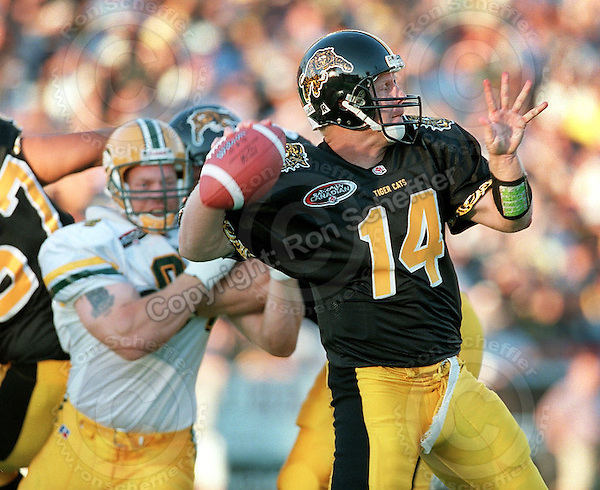 February 27, 2008; Hamilton, Ontario, Canada; Hamilton Tiger-Cats quarterback Danny McManus (14) plays against the Edmonton Eskimos at Ivor Wynne Stadium. Photo © Ron Scheffler MANDATORY CREDIT