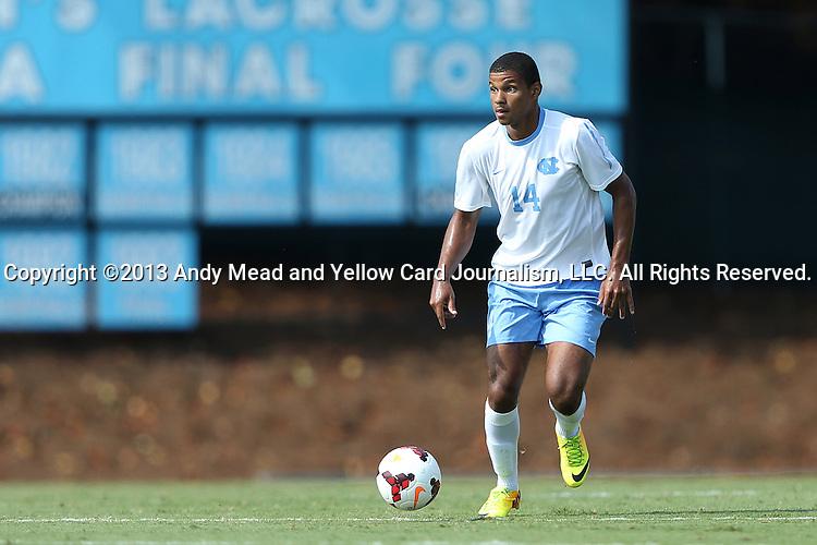 02 September 2013: North Carolina's Omar Holness (JAM). The University of North Carolina Tar Heels hosted the Coastal Carolina University Chanticleers at Fetzer Field in Chapel Hill, NC in a 2013 NCAA Division I Men's Soccer match. UNC won the game 4-0.