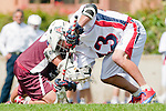 Los Angeles, CA 03/20/10 - Kelcey Fisher (LMU # 16) and John Solomon (Arizona # 43) in action during the Arizona-Loyola Marymount University MCLA game at Leavey Field (LMU).  LMU defeated Arizona 13-6.