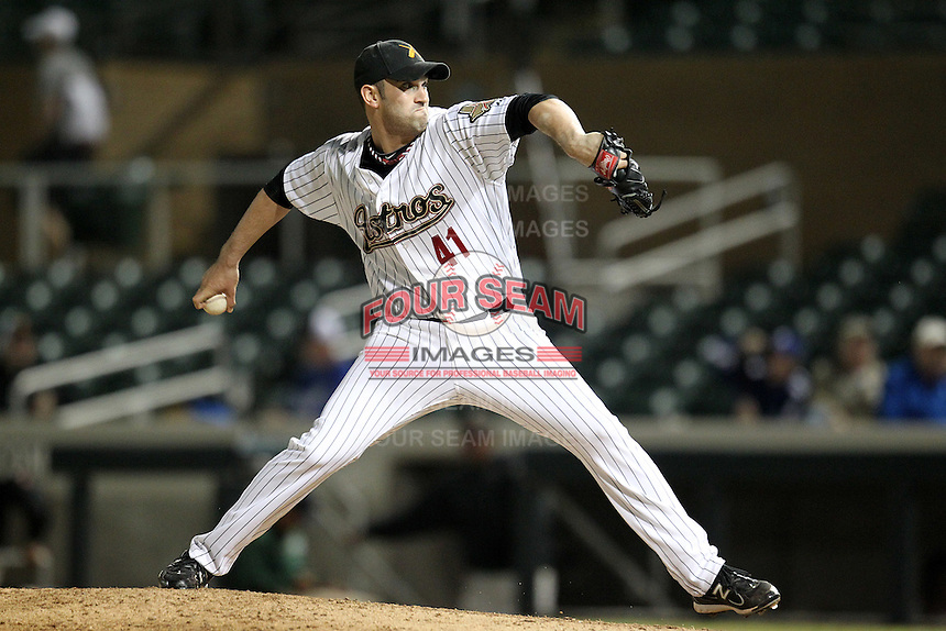 Salt River Rafters pitcher Josh Zeid #41 during an Arizona Fall League game against the Peoria Javelinas at HoHoKam Park on November 3, 2011 in Mesa, Arizona.  Salt River defeated Peoria 13-4.  (Mike Janes/Four Seam Images)