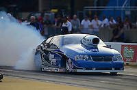 Jun. 29, 2012; Joliet, IL, USA: NHRA pro stock driver Chris McGaha during qualifying for the Route 66 Nationals at Route 66 Raceway. Mandatory Credit: Mark J. Rebilas-