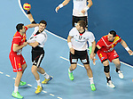 20.01.2013 Barcelona, Spain. IHF men's world championship, eighth.final. Picture show Oliver Roggisch  in action during game between Germany  vs FYRO Macedonia at Palau st Jordi