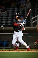 Birmingham Barons Laz Rivera (5) at bat during a Southern League game against the Chattanooga Lookouts on May 2, 2019 at Regions Field in Birmingham, Alabama.  Birmingham defeated Chattanooga 4-2.  (Mike Janes/Four Seam Images)