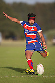 Ray Laulala converts his try. Counties Manukau Premier Club Rugby game between Ardmore Marist and Weymouth, played at Bruce Pulman Park on May 14th 2016. Ardmore Marist won the game 43 - 7 after leading 17 - 0 at halftime. Photo by Richard Spranger.