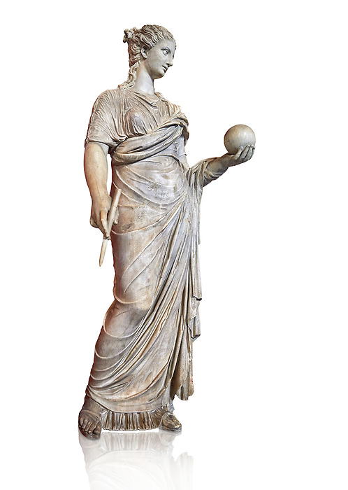 Second century AD Roman statue of Urania holding, the muse of atronomy holding  a globe, the statue was restored from two separte staues of the period, inv 293, Vatican Museum Rome, Italy,  white background