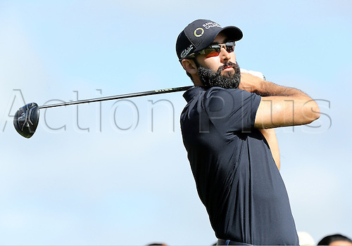 19th Februaru 2017, Pacific Palisades, CA, USA;  Cameron Tringale hits a tee shot during the final round of the Genesis Open at Riviera Country Club on February 19, 2017, in Pacific Palisades, CA