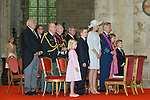 Prince Emmanuel, Princess Eleonore, Prince Gabriel, Crown Princess Elisabeth, Queen Mathilde of Belgium and King Philippe - Filip of Belgium pictured during the Te Deum mass, on the occasion of today's Belgian National Day, at the Saint Michael and St Gudula Cathedral<br /> Brussels, 21 July 2015, Belgium