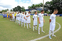 2 October 2011:  FIU's starting lineup stands for National Anthem prior to the match.  The FIU Golden Panthers defeated the University of Kentucky Wildcats, 1-0 in overtime, at University Park Stadium in Miami, Florida.