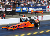 Jul. 26, 2014; Sonoma, CA, USA; NHRA top fuel driver Mike Salinas during qualifying for the Sonoma Nationals at Sonoma Raceway. Mandatory Credit: Mark J. Rebilas-