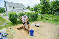 HAZLETON, PA - JUNE 30:  Jim Kuzma works at the site of an archaeologic dig June 30, 2014 in Hazleton, Pennsylvania. The team is looking through sites connected with the Lattimer Massacre which occurred in 1897. (Photo by William Thomas Cain/Cain Images)