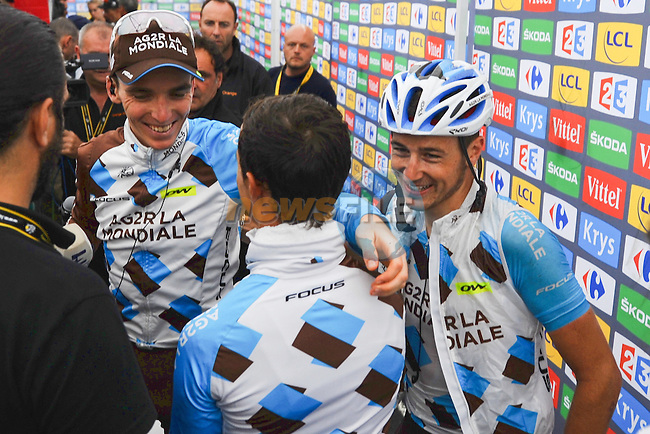 Romain Bardet (FRA) AG2R La Mondiale smiles with his team mates after he wins Stage 19 of the 2016 Tour de France running 146km from Albertville to Saint-Gervais Mont Blanc, France. 22nd July 2016.<br /> Picture: ASO/G.Demouveaux | Newsfile<br /> <br /> <br /> All photos usage must carry mandatory copyright credit (&copy; Newsfile | ASO/G.Demouveaux)