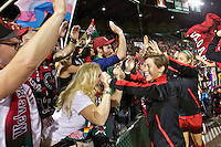 Portland, Oregon - Sunday September 11, 2016: Portland Thorns FC defender Meghan Klingenberg (25) with fans during a regular season National Women's Soccer League (NWSL) match at Providence Park.
