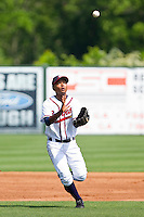 Third baseman Elmer Reyes #8 of the Rome Braves waits for a high chopper to come down against the Hagerstown Suns at State Mutual Stadium on May 2, 2011 in Rome, Georgia.   Photo by Brian Westerholt / Four Seam Images