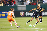 Shannon Boxx #7 of the Los Angeles Sol attacks the defense of Sky Blue FC during their WPS game at Home Depot Center on May 15, 2009 in Carson, California.