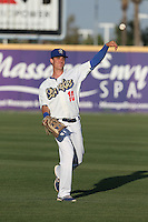 Cody Bellinger (10) of the Rancho Cucamonga Quakes throws before a game against the High Desert Mavericks at LoanMart Field on August 3, 2015 in Rancho Cucamonga, California. Rancho Cucamonga defeated High Desert, 2-1. (Larry Goren/Four Seam Images)