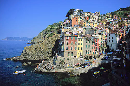 Riomaggorie, the most southwestern of the beautiful and scenic Cinque Terre villages on the Italian Riviera in Liguria.