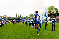 Freddie Burns and the rest of the Bath Rugby team run onto the field. Gallagher Premiership match, between Bath Rugby and Wasps on May 5, 2019 at the Recreation Ground in Bath, England. Photo by: Patrick Khachfe / Onside Images