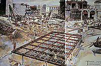Reconstruction of workers lowering mortar into formwork at Sebastos Harbor, Ancient Caesarea, Israel (Hohlfelder 1987: 264–65)