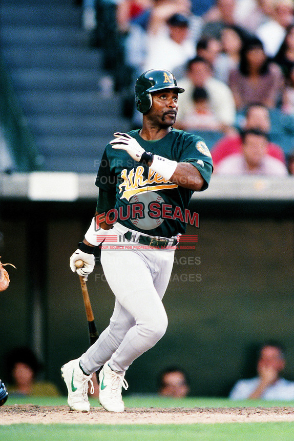 Tony Phillips of the Oakland Athletics during a game against the Anaheim Angels at Angel Stadium circa 1999 in Anaheim, California. (Larry Goren/Four Seam Images)