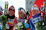 HOLMENKOLLEN, OSLO, NORWAY - March 17: Winners podium of the Viessmann Ladies 30 km mass start race, free technique, at the FIS Cross Country World Cup on March 17, 2013 in Oslo, Norway. (C) Winner Therese Johaug of Norway (NOR), (L) 2nd place Justyna Kowalczyk of Poland (POL) and (R) 3rd place Yulia Tchekaleva of Russia (RUS). (Photo by Dirk Markgraf).