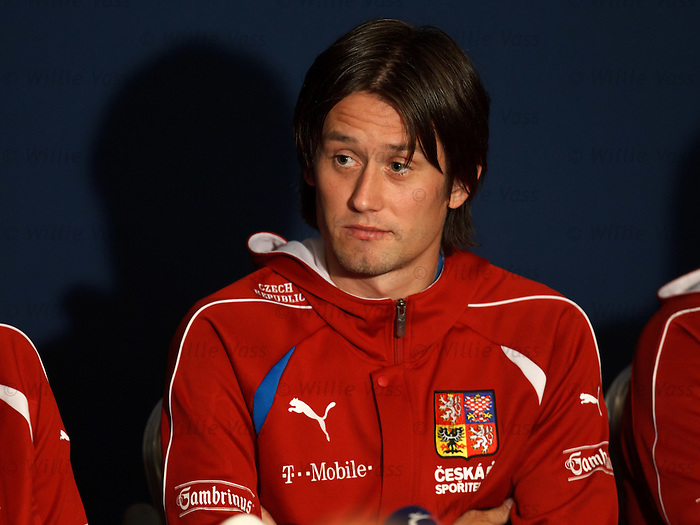 Tomas Rosicky at Hampden for the Czech Republic media conference