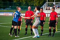 Kansas City, MO - Thursday August 10, 2017: Becky Sauerbrunn, Abby Erceg during a regular season National Women's Soccer League (NWSL) match between FC Kansas City and the North Carolina Courage at Children's Mercy Victory Field.