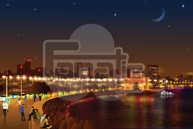 Illustration of Marine Drive, Mumbai, India