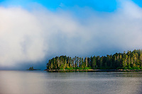 Fog and low hanging clouds, Sitka Sound,  Inside Passage, near Sitka, Alaska USA.