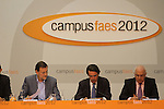 The Prime Minister of Spain, Mariano Rajoy (l), the President of FAES foundation (foundation for the analysis and social studies), José María Aznar (c) have closed the ninth edition of Campus FAES, which took place in the town of Navacerrada, Madrid.July 7,2012. (ALTERPHOTOS/Alberto Simon)