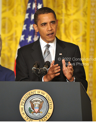 "Washington, D.C. - March 2, 2009 -- United States President Barack Obama makes a statement as he names Governor Kathleen Sebelius (Democrat of Kansas) as Secretary of the Department of Health and Human Services (HHS) in the East Room of the White House in Washington, DC on Monday, March 2, 2009.  The President also announced the release of $155 million authorized by the American Recovery and Reinvestment Act (ARRA) that will support 126 new health centers.  In a release, the White House stated ""These health centers will help people in need - many with no health insurance - obtain access to comprehensive primary and preventive health care services."".Credit: Ron Sachs / Pool via CNP"