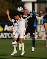 Javier Robles of Earthquakes fights for the ball in the air against Javier Morales of Real Salt Lake during the game at Buck Shaw Stadium in Santa Clara, California on March 27th, 2010.   Real Salt Lake defeated San Jose Earthquakes, 3-0.