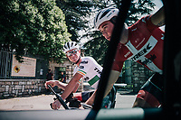 Ryan Mullen (IRL/Trek-Segafredo) &amp; Mads Pedersen (DEN/Trek-Segafredo) checking out the iTT-course of the 16th stage on the restday<br /> <br /> 3rd Giro restday <br /> 101th Giro d'Italia 2018