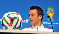 SAO PAULO - BRASIL -09-07-2014.  Stefan De Vrij  durante  la conferencia de prensa que ofrecio la seleccion Holandesa de futbol antes de su encuentro contra Argentina  en el estadio Arena Corinthians /  Stefan De Vrinj during the news conference that offered the Select function Holland football before their match against Argentina  at Arena Corinthias  stadium. Photo: VizzorImage / Alfredo Gutierrez / Contribuidor