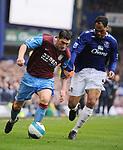 Joleon Lescott of Everton and Gareth Barry of Aston Villa during the Premier League match at Goodison Park  Stadium, Liverpool. Picture date 27th April 2008. Picture credit should read: Simon Bellis/Sportimage